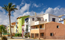Old town of La Vila Joiosa. Colorful houses on the Mediterranean Sea in southern Spain stock photo