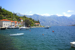 Old town landscape, Perast, Kotor Bay, Montenegro Stock Image