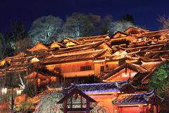 Old town of Lijiiang. Night view, the old town of Lijiiang in Yunnan Province,China.This town was built about 800 years ago during the Southern Song Dynasty in Stock Image
