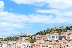 Old town lisbon and Castelo de Sao Jorge Royalty Free Stock Photos