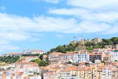 Old town lisbon and Castelo de Sao Jorge Stock Images