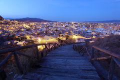 Old town of Lorca at dusk. Murcia, Spain Royalty Free Stock Photo