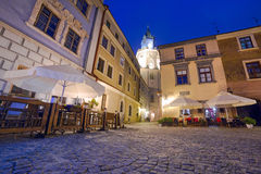 Old town of Lublin at night Royalty Free Stock Photo