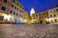 Old town of Lublin at night Royalty Free Stock Photography