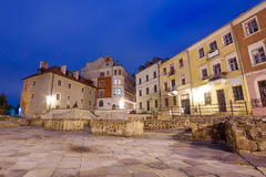 Old town of Lublin at night Stock Photography