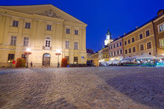 Old town of Lublin at night, Poland Stock Images