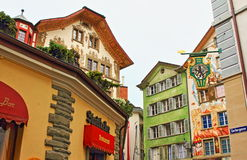 Old town Lucerne colorful buildings Switzerland Royalty Free Stock Photos