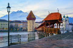 Old town of Lucerne with Mount Pilatus, Switzerland Stock Photos