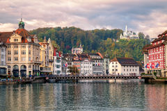 Old town of Lucerne reflecting in Reuss River, Switzerland Royalty Free Stock Image