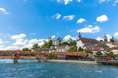 Old town of Lucerne. On the river side of Reuss, Switzerland Royalty Free Stock Photo