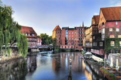 Old Town Lueneburg, Germany , Old Harbour in the morning Stock Photos
