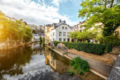 The old town of Luxembourg city. Sunset view on the old buildings near the river in Grund district of the old town of Luxembourg city Royalty Free Stock Photography