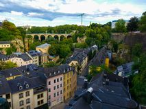 Old town of Luxembourg with traditional houses and a bridge at the background.  royalty free stock photo