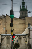 The old Town. Lviv. Colorful Lanterns Royalty Free Stock Photo