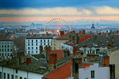 The old town of Lyon. France, at dusk royalty free stock photo
