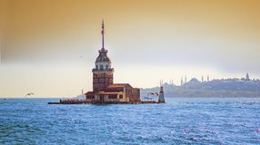 Maiden`s Tower kiz kulesi in istanbul stock photo