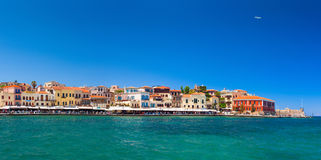 Old town main quay with colorful buildings. Chania, Greece Royalty Free Stock Image