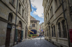Old town main street Grand Rue, Geneva Royalty Free Stock Photos