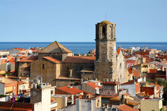 Old town in Malgrat de Mar, Spain. Old town and church Sant Nicolau de Bari in Malgrat de Mar. Costa del Maresme, Catalonia, Spain Stock Photo