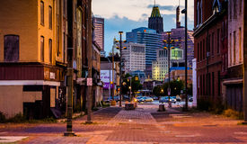 Old Town Mall and view of buildings in Baltimore, Maryland. royalty free stock image