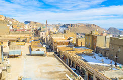 In the old town. MARDIN, TURKEY - JANUARY 14, 2015: The medieval arabic town boasts narrow winding streets, old houses and mansions and high minarets, on January Royalty Free Stock Photos