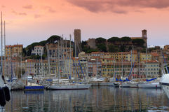Cannes Castle and Old Port Stock Photos