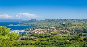 Old town and marina of Porquerolles island. royalty free stock image