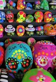 Day of the Dead Pottery. Old Town Market Shopping Tourist Attraction Ceramic Pottery Souvenir Day of the Dead Skull Skeleton Painted Tourism stock photo