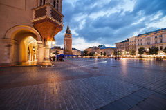 Old Town Market Square in Krakow at Dusk Royalty Free Stock Image