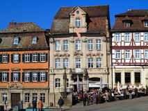 Old town square Schwabisch Hall stock image