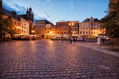 Old Town Market Square in Torun. City of Torun in Poland, cobbled, medieval Old Town Market Square in the evening Royalty Free Stock Photos