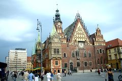 Old town market square in Wroclaw Royalty Free Stock Images
