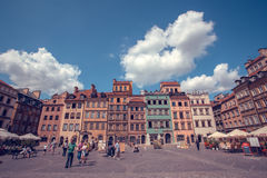 Old town marketplace square with colorful houses and outdoor cafes in Warsaw, Poland Royalty Free Stock Photography