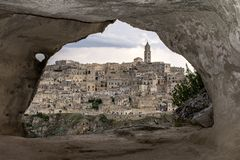 Matera from a cave. royalty free stock photos