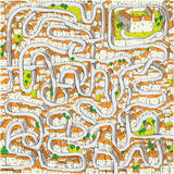 Old Town Maze Game stock illustration