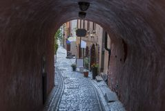 Old Town in medieval style in Stockholm. In Sweden Stock Photography