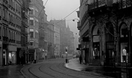 Old town on misty morning. The centre of Strasbourg (France) on a foggy February morning Stock Image