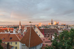 Old Town and modern city of Tallinn at sunset Royalty Free Stock Photos