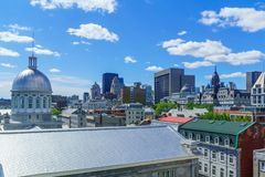 Old town, Montreal. View of the old town and downtown, in Montreal, Quebec, Canada royalty free stock images
