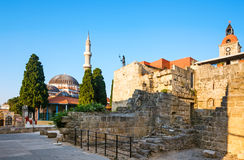 Old Town and the Mosque of Suleyman. Rhodes Island. Greece. Old Town entered in the Register of Heritage UNESCO. Knight Building, Byzantine churches and mosques stock image