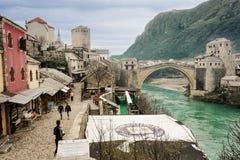 Mostar Bridge and Mountains. Old Town Mostar, Bosnia - Bridge and Mountains in Turkish Village Stock Photo