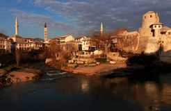 Old Town, Mostar, Bosnia. Early morning on the old town of Mostar, Bosnia Royalty Free Stock Photo