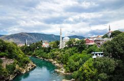 Beautiful old town Mostar and Neretva river Royalty Free Stock Photography