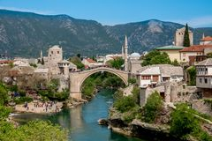 Old town of Mostar, Bosnia and Herzegovina, with Stari Most bridge, Neretva river and old mosques. Old town of Mostar, Bosnia and Herzegovina, with Stari Most royalty free stock image