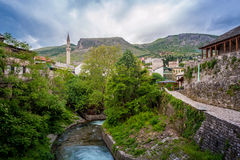 Old town of Mostar. Islamic architecture with river Stock Photography