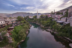 Old town of Mostar and river Neretva Stock Photo