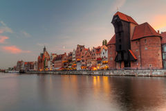 Old town on Motlawa river in Gdansk Royalty Free Stock Photography