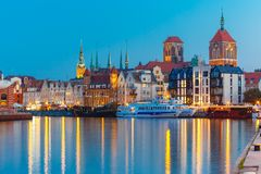 Old Town and Motlawa River in Gdansk, Poland. Old Town of Gdansk, Dlugie Pobrzeze and Motlawa River in night, Poland Stock Photography