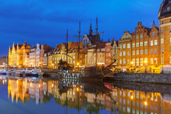 Old Town and Motlawa River in Gdansk, Poland Royalty Free Stock Images
