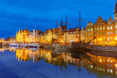 Old Town and Motlawa River in Gdansk, Poland Stock Images